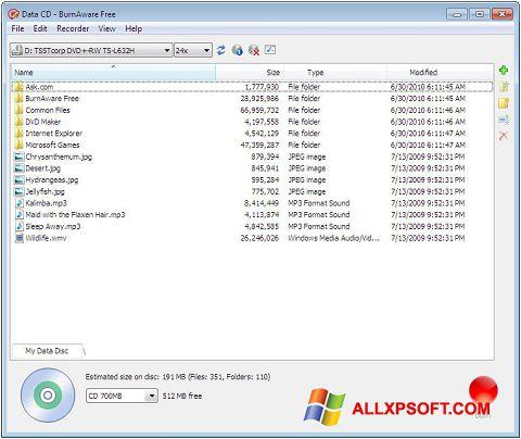 Στιγμιότυπο οθόνης BurnAware Free Windows XP