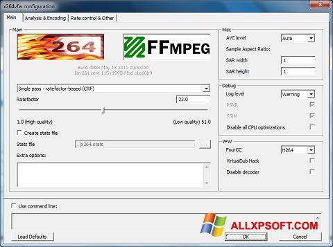 Στιγμιότυπο οθόνης x264 Video Codec Windows XP