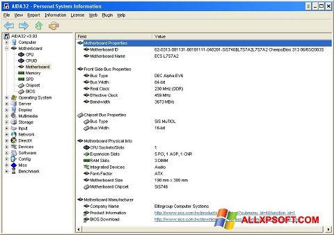 Στιγμιότυπο οθόνης AIDA32 Windows XP