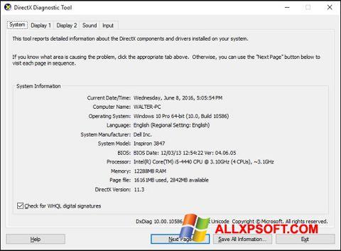Στιγμιότυπο οθόνης DirectX Windows XP
