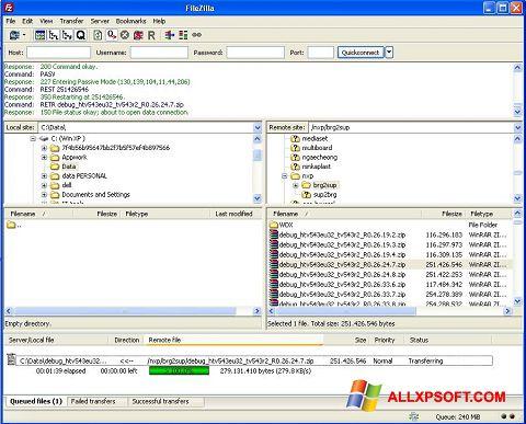 Στιγμιότυπο οθόνης FileZilla Windows XP
