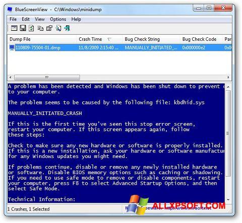Στιγμιότυπο οθόνης BlueScreenView Windows XP