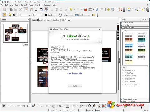 Στιγμιότυπο οθόνης LibreOffice Windows XP