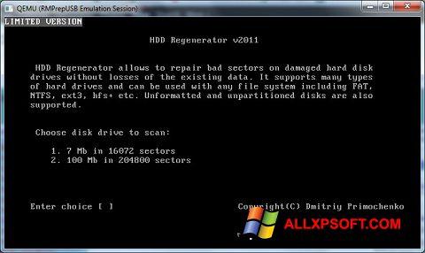 Στιγμιότυπο οθόνης HDD Regenerator Windows XP
