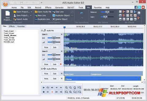 Στιγμιότυπο οθόνης AVS Audio Editor Windows XP