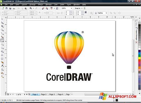 Στιγμιότυπο οθόνης CorelDRAW Windows XP