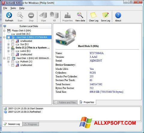 Στιγμιότυπο οθόνης Active KillDisk Windows XP