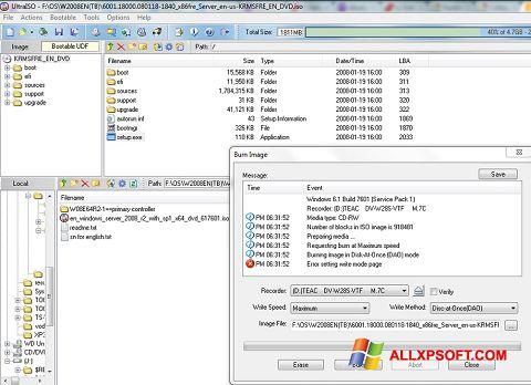 Στιγμιότυπο οθόνης UltraISO Windows XP