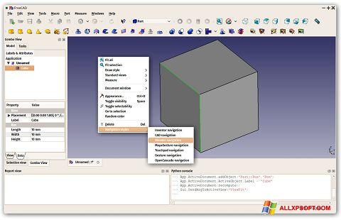 Στιγμιότυπο οθόνης FreeCAD Windows XP