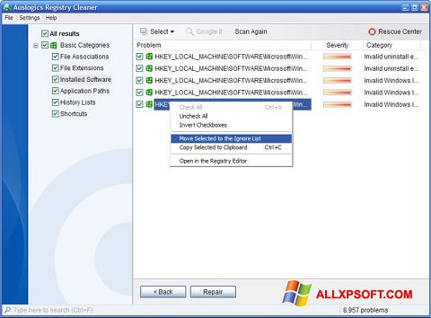 Στιγμιότυπο οθόνης Auslogics Registry Cleaner Windows XP