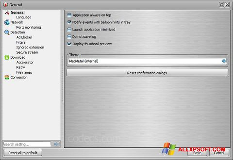 Στιγμιότυπο οθόνης VSO Downloader Windows XP