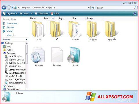 Στιγμιότυπο οθόνης Windows 7 USB DVD Download Tool Windows XP
