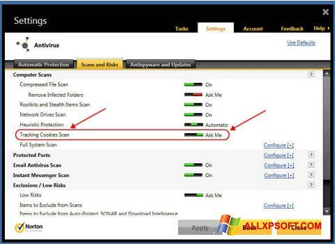 Στιγμιότυπο οθόνης Norton Windows XP