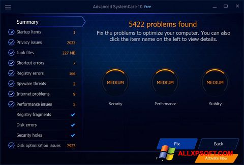 Στιγμιότυπο οθόνης Advanced SystemCare Free Windows XP