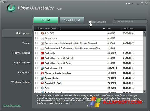 Στιγμιότυπο οθόνης IObit Uninstaller Windows XP