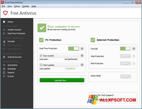 Στιγμιότυπο οθόνης Avira Free Antivirus Windows XP