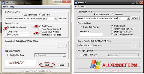 Στιγμιότυπο οθόνης PeToUSB Windows XP