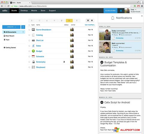 Στιγμιότυπο οθόνης Celtx Windows XP