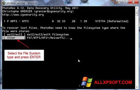 Στιγμιότυπο οθόνης PhotoRec Windows XP