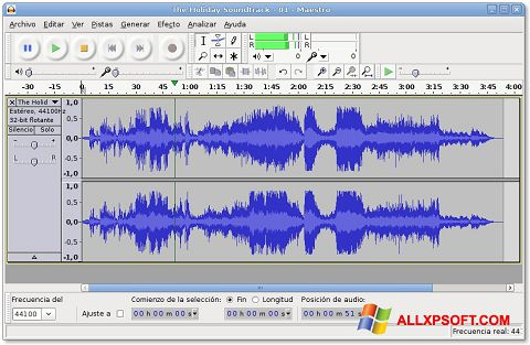Στιγμιότυπο οθόνης Audacity Windows XP