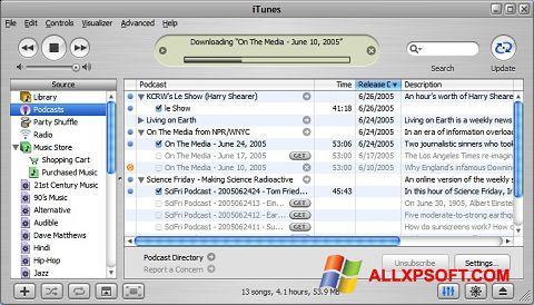 Στιγμιότυπο οθόνης iTunes Windows XP