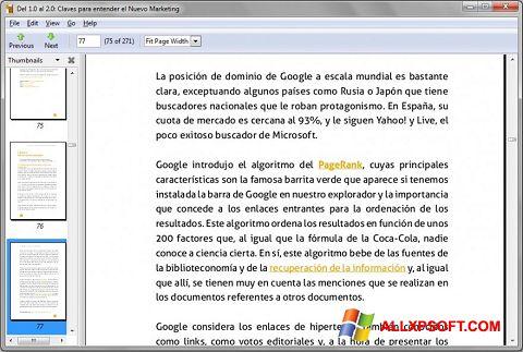 Στιγμιότυπο οθόνης Evince Windows XP