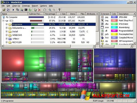 Στιγμιότυπο οθόνης WinDirStat Windows XP