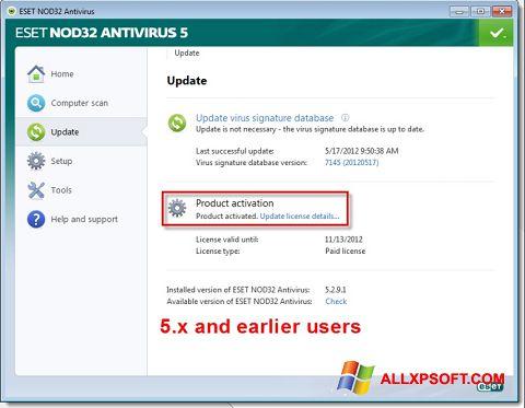 Στιγμιότυπο οθόνης ESET NOD32 Windows XP