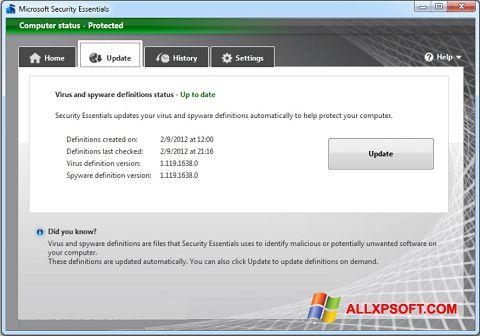 Στιγμιότυπο οθόνης Microsoft Security Essentials Windows XP