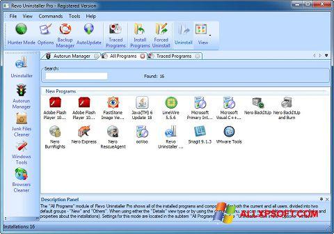 Στιγμιότυπο οθόνης Revo Uninstaller Pro Windows XP